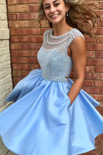 Cute Sparkly Beads Short Blue Open Back Homecoming Dress with Pockets OK438