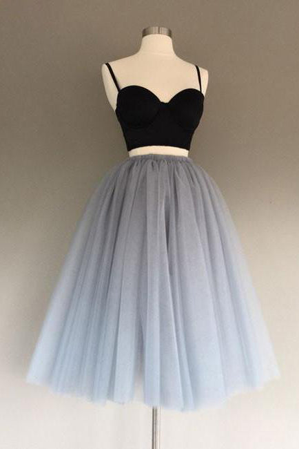 Two Pieces Homecoming Dress,Black and Silver Homecoming Dresses,Short Prom Dress,Sexy Party Dress,Spaghetti Strap Prom Dresses,A Line Homecoming Dresses