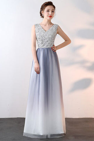 Ombre Beaded Prom Dress