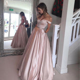 2018 A Line Pink Burgundy Prom Dresses With Pockets, Long Evening Party Dresses OK103