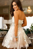 Cute Sweetheart Tulle A Line Short Homecoming Dress With Lace OK457