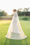 Alencon Lace Edge Cathedral Tulle Ivory Wedding Veil WV15