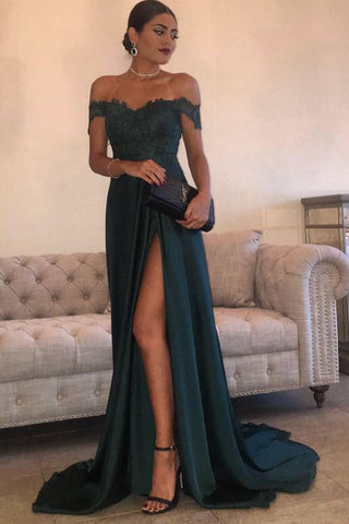 b5781bba29 A Line Navy Green Chiffon Split Prom Dress