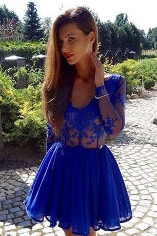 V-Neck Homecoming Dresses,Long Sleeves Homecoming Dress,Royal Blue Homecoming Dresses,Short Homecoming Dresses,A Line Prom Dress
