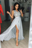 Elegant Prom Dresses,Gray Prom Gown,Chiffon Prom Dress,Split Prom Dresses