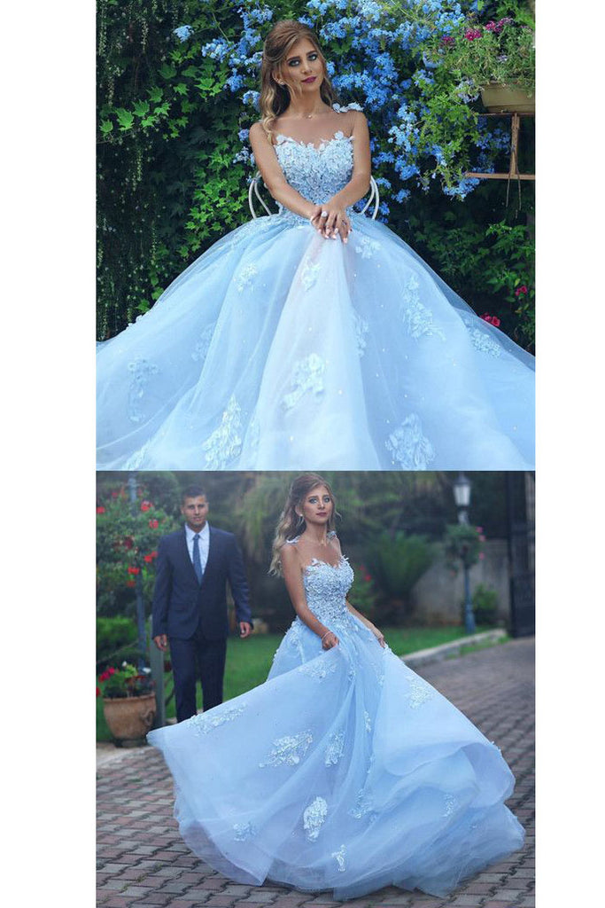 Light Blue Lace Appliques Ball Gown Prom Dress,Princess