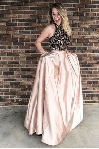 High Neck Prom Dress,Blush prom dress,A Line prom dress,long Prom Gown,Sleeveless prom dress,prom dress with pockets