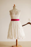 Ivory Bateau A-line Princess Sleeveless Long Lace Flower Girl Dress With Sash OK701
