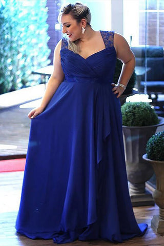Plus Size Prom Dress,Royal Blue Prom Dress,Chiffon Prom Dresses,A Line Prom Dress,Long Prom Gown