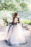Charming Black Lace Puffy Prom Dress,Long Sleeves Open Back Tulle Wedding Dress OK794