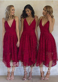 Navy Blue/Pink Deep V-neck Spaghetti Straps Sleeveless Asymmetry Lace A-line Bridesmaid Dress OK236