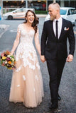 Lace A-line Long Sleeves Tulle Simple Cheap Long Wedding Dresses,Prom Dress OK889