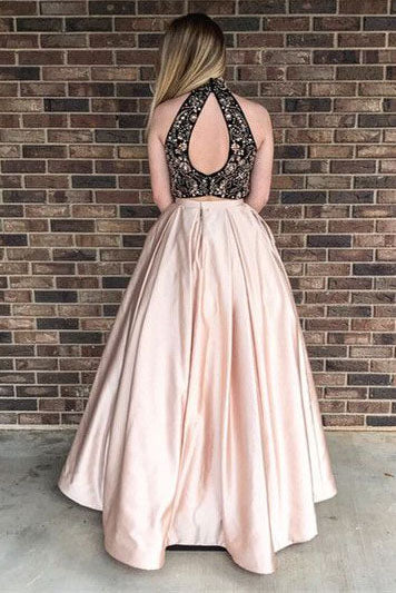 High Neck Blush A Line Black Lace Sleeveless Prom Dress With Pockets OK687