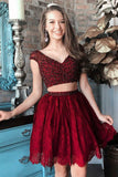 Two Pieces Burgundy Beaded Lace Homecoming Dresses,Short Prom Dresses,2 Pieces Party Dresses OK510