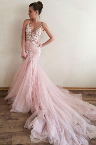 Sexy Prom Dress,Appliques Prom Dress,V-Neck Prom Dress,Mermaid Prom Dress,Long Prom Dress,Formal Evening Dress,Pink Prom Dresses,Tulle Prom Gown