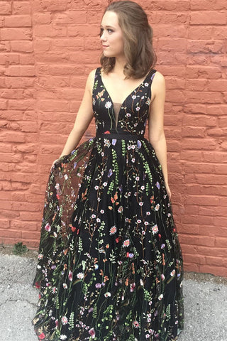 Princess Prom Dresses,Black Prom Gown,Floral Prom Dress,V Neck Prom Dress
