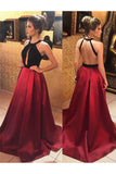 satin prom dress,long evening gowns,backless prom dress,open back prom dress,burgundy prom dresses