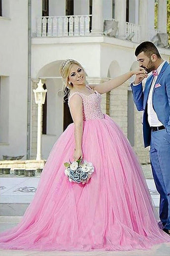 Pink Tulle Sweetheart Beading Sleeveless Ball Gown Long Plus Size Prom Dress OK665
