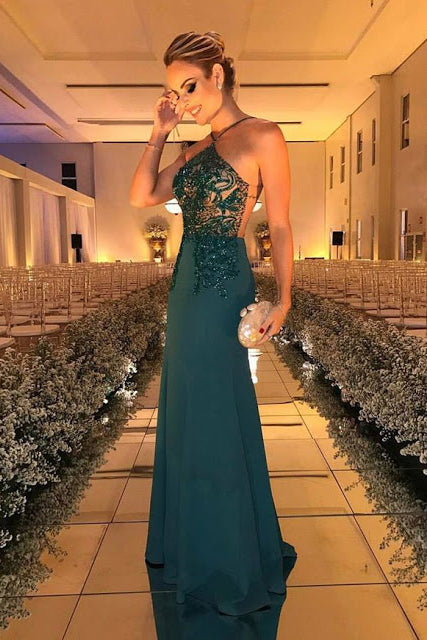 Dark Green Prom Dresses,Beading Prom Dress,Sleeveless Prom Gown,Long Evening Dresses