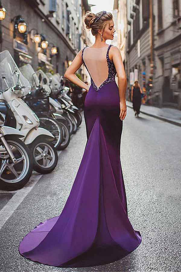 Satin Purple Mermaid Prom Dresses With Beading,Long Formal Evening Dress OK788