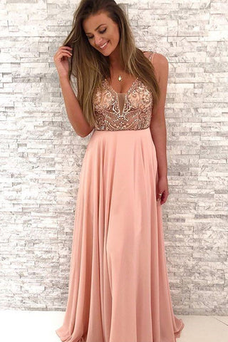 Gorgeous Beaded V-Neck A Line Blush Pink Chiffon Long Prom Dress OKB19