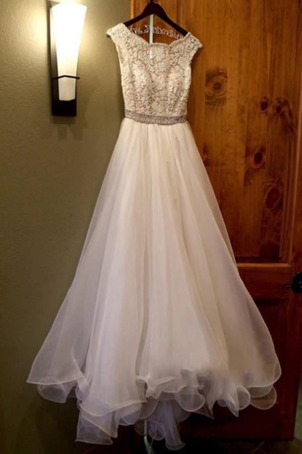 White Bateau Neck A-line Beading Organza Long Wedding Dress OK552