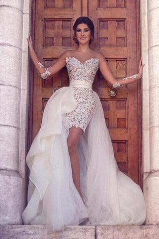 Luxurious Wedding Dresses,A-Line Prom Gown,Sweetheart Prom Dress,White Wedding Dress,Tull Prom Dresses,Lace Wedding Dresses,High Low Evening Dress