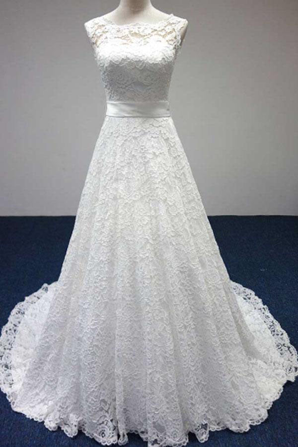 Elegant Wedding Dresses,A-Line Wedding Dress,Long Wedding Gown,Lace Bridal Dress,White Wedding Dress