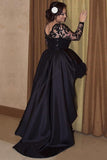 Black Long Sleeves Lace A Line High Low Plus Size Prom Dress OK657
