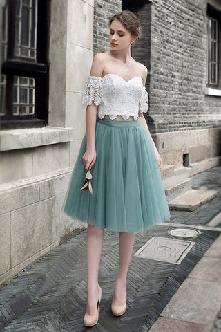 e2c7292f66ed A-line White Lace Off Shoulder Two Pieces Tulle Short Homecoming ...