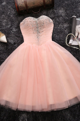 Sweetheart Homecoming Dresses,Blush Pink Homecoming Dresses,Beading Homecoming Dresses,Short Prom Dresses,Pink Prom Dresses,Tulle Prom Dresses,Short Party Dresses for Girls
