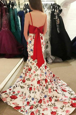 Mermaid Spaghetti Straps Floral Print Red Top Prom Dresses OKI84