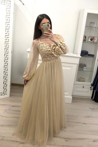 Stunning A Line Long Sleeve Tulle Appliques Prom Dresses OKH59
