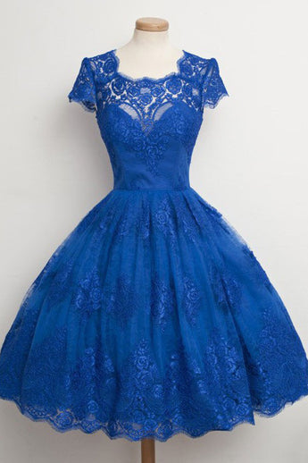 Vintage Homecoming Dresses,Scalloped-Edge Homecoming Dresses,Short Homecoming Dresses,Short Prom Dresses,Cap Sleeves Prom Dresses,Cocktail Party Dresses,Short Party Dress,Blue Prom Dresses