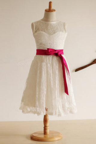Ivory Flower Girl Dress,Princess Flower Girl Dresses,Lace Flower Girl Dresses,Flower Girl Dress With Sash