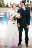 Lace Wedding Dress,White Wedding Dresses,A-Line Wedding Dresses,Chiffon Wedding Dresses,Half Sleeve Wedding Gown,Long Bridal Gowns