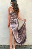 Sexy Prom Dress,Sheath Prom Dress,Strapless Prom Dresses,Split Front Prom Dress,Sequined Prom Dresses,Long Prom Dress