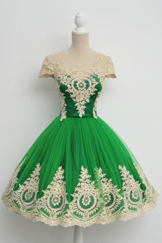A-line Homecoming Dresses,Green Prom Dresses,Short Prom Dress,Green Homecoming Dresses,Cap Sleeves Prom Dresses,Graduation Dress,Girls Party Dress,Elegant Homecoming Dresses