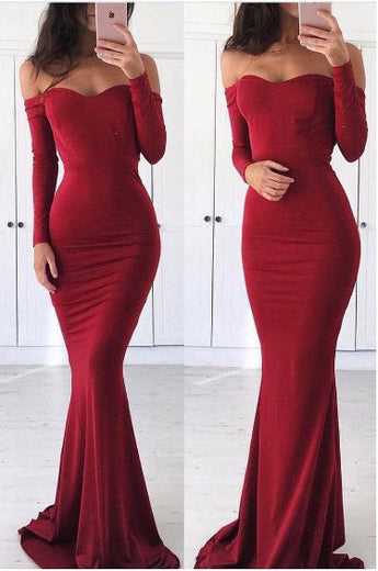 Off Shoulder Prom Dress,Mermaid Prom Dresses,Long Sleeves Evening Dress,Red Prom Dress,Graduation Dress
