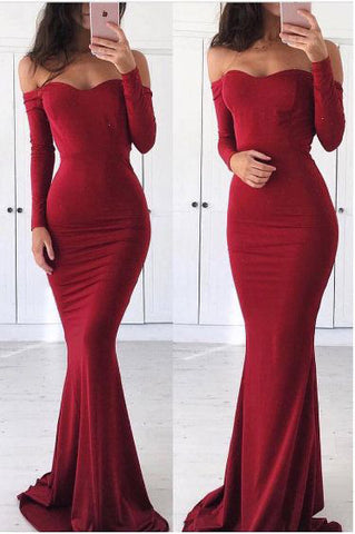 Sexy Off Shoulder Mermaid Long Sleeves Red Prom Dress