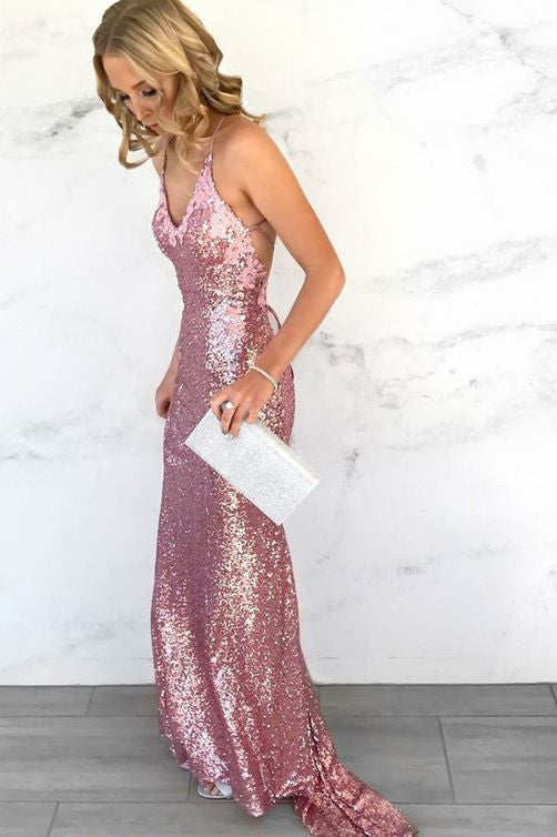 Sexy Prom Dresses,Mermaid Prom Gown,Spaghetti Straps Prom Dress,Sequins Prom Dresses