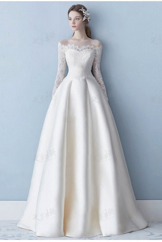 Long Sleeve Satin Wedding Dress