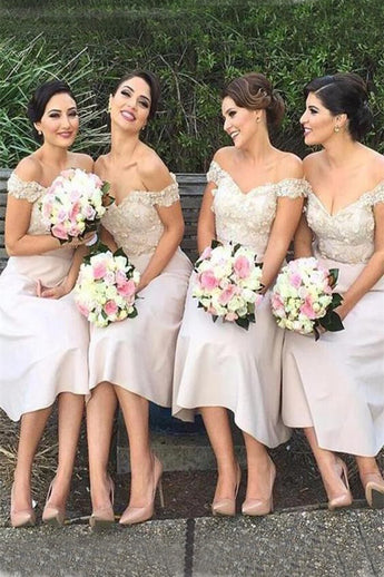 Modern Bridesmaid Dress,Ivory Bridesmaid Dresses,Off the Shoulder Bridesmaid Dress,Tea-length Bridesmaid Dresses