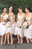 Modern Ivory Off the Shoulder A-line Tea-length Appliques Bridesmaid Dress OK765