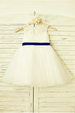 Ivory Flower Girl Dress,Bowknot Flower Girl Dresses,Tulle Flower Girl Dress