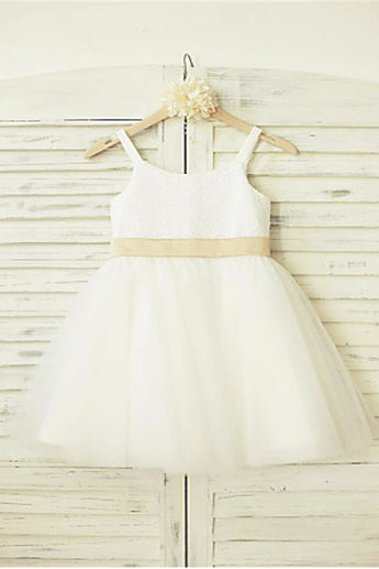 Tulle Flower Girl Dress,Long Flower Girl Dresses,Bowknot Flower Girl Dress
