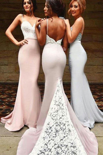 Spaghetti Straps Bridesmaid Dresses,Sexy Bridesmaid Dress,Mermaid Bridesmaid Dresses,Backless Bridesmaid Dress