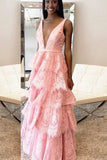 A-Line Prom Dress,Deep V-Neck Prom Dresses,Backless Prom Dresses,Pink Prom Dress,Lace Prom Gowns,Layers Prom Dress