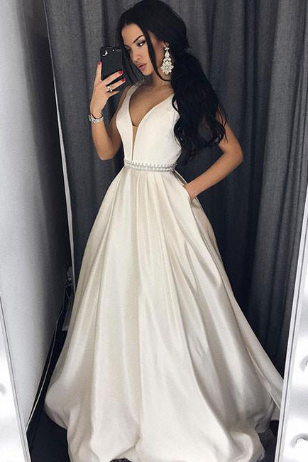 Sexy Deep V-Neck Ivory Long Prom Dress with Pockets,Formal Evening Dress OK577