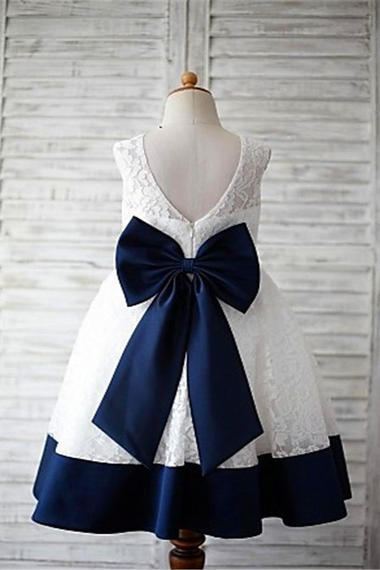 Lace Flower Girl Dress,Bowknot Flower Girl Dresses,A-line Flower Girl Dress